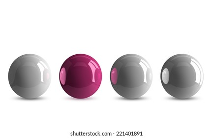 Pink shiny ball in row of white ones isolated on white