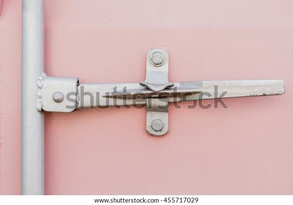 Pink Shipping Container Cargo Background Close Stock Photo (Edit Now