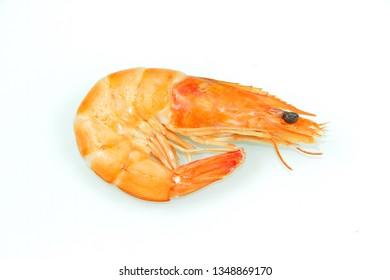 pink shrimp on a white background