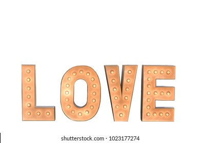 """Pink sign with light bulbs of word """"LOVE"""" on white background"""
