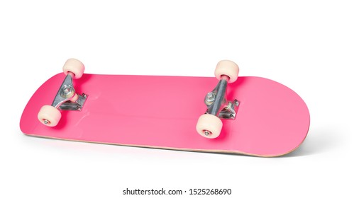 Pink skateboard deck, isolated on white background. File contains a path to isolation