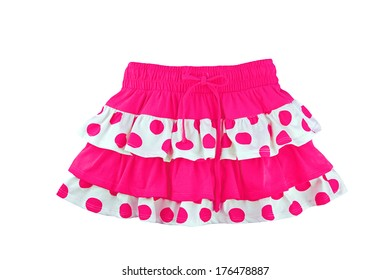 Pink skirt for girl, isolated on white background