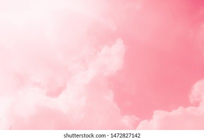 Pink sky with beautiful natural white clouds