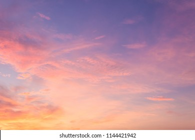 Pink sky,Colorful dusk cloud and sunset in the evening,idyllic nature cloud,dramatic sunlight with majestic pesceful sky in summer season.