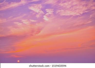 Pink sky,Dusk cloud in the evening,idyllic peaceful nature sunlight background.