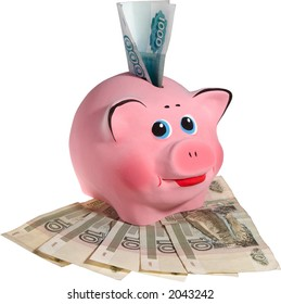 Pink smiling piggi-bank with banknotes. Isolated