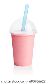Pink smoothie in plastic transparent cup isolated on white background. Take away drinks concept.