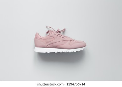 Pink Sneakers on white background. Interior poster. Hype sneaker