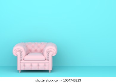 pink sofa in blue living room.  pastel color style.