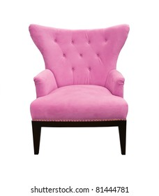 Pink sofa isolated on white background