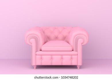 pink sofa in pink living room. Minimal style concept. pastel color style.