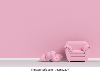pink sofa with pillow on the floor in pink living room. minimal style concept.