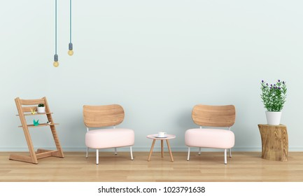 pink sofa in room and blank space for text, 3D rendering