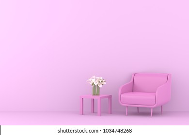 pink sofa with table and flower in pink living room.Minimal style concept. pastel color style.
