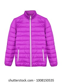 Pink sport ski winter down jacket isolated white