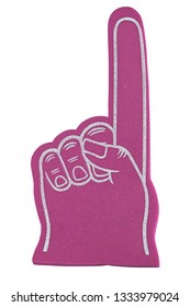A pink sports fan foam finger isolated on a white background.