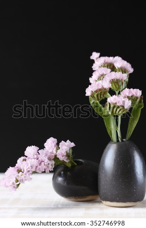 Pink Statice Flower Black Vase On Stock Photo Edit Now 352746998
