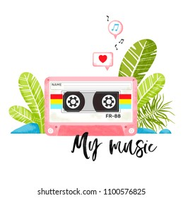 Pink stereo cassette in the jungle. Illustration in the cartoon style. Summer print for printing on clothes, covers, posters and other surfaces.