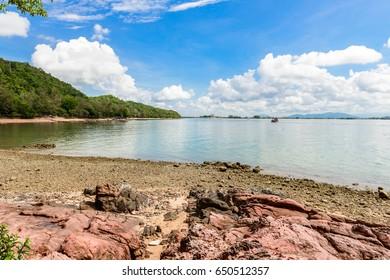 Pink stone (Arkose) near the beach , Pink stone viewpoint at Non-hunting Area Kung Krabaeng, Chantaburi province, THAILAND