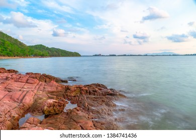 Pink stone (Arkose) near KKung Krabaen Wildlife Reserve in the morning in Chantaburi province of Thailand