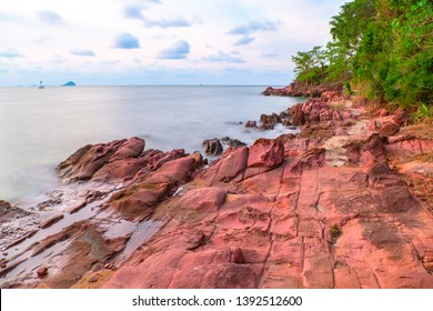 Pink stone (Arkose) near Kung Krabaen Wildlife Reserve in the morning in Chantaburi province of Thailand