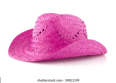 Pink Straw hat isolated on white background.