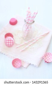 pink straw on the table