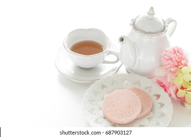 Pink strawberry flavor cookie on dish