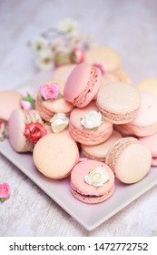 pink strawberry macarons. French dessert