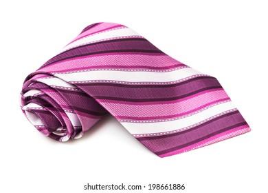 pink striped necktie on a white background