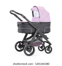 Pink Stroller Isolated on White Background. Side View of Baby Transport. Pushchair and Carrycot with Canopy and Swivel Wheels. Infant Carriage Seat. Travel System or Pram with Elevators and Raincover