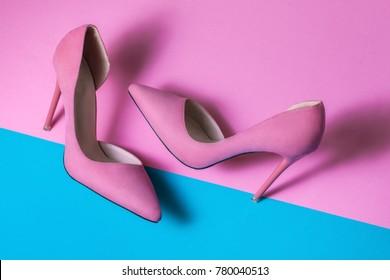 Pink Suede High Heels on pink background
