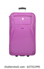 Pink suitcase isolated on a white background.