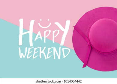 Pink summer woman hat on pastel color background, Happy Weekend
