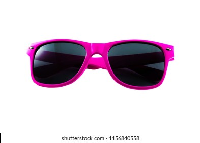 Pink sunglasses isolated on white background.