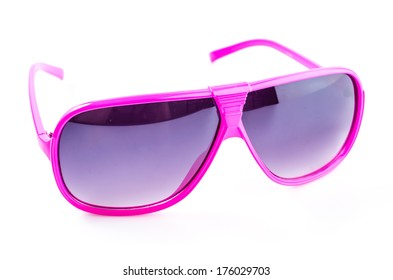 Pink sunglasses on isolated white background