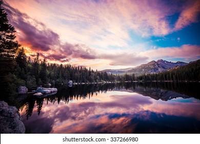 Pink Sunrise / Bear Lake in Rocky Mountain National Park