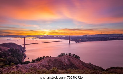 Pink Sunrise at Golden Gate Bridge