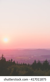 pink sunset above forest