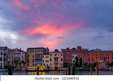 Pink sunset above Venice. Popular tourist travel destination in Italy, Europe