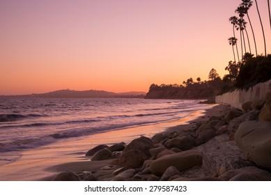 A pink sunset along the coast of Santa Barbara