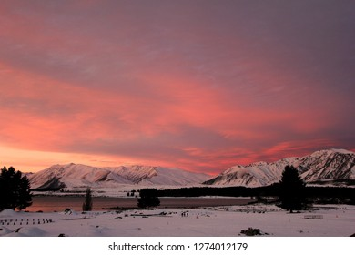 Pink Sunset at Lake Tekapo