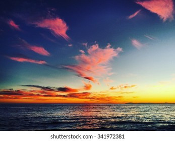 Pink Sunset from Newport Beach, California