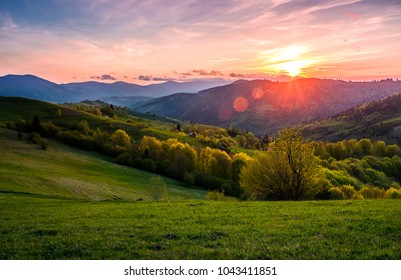 pink sunset over the mountains in springtime. gorgeous Carpathian countryside. beautiful rural scene with agricultural fields on rolling hills