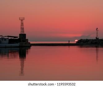Pink Sunset in Samothraki,Greece