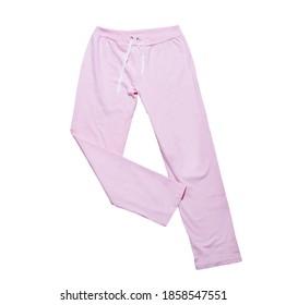 Pink sweatpants mock up close up on white background