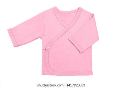 Pink sweet lilac baby girl baby's loose jacket with long sleeve isolated on a white background. Mock up for design and placement of logos. Copy space for text or pictures.