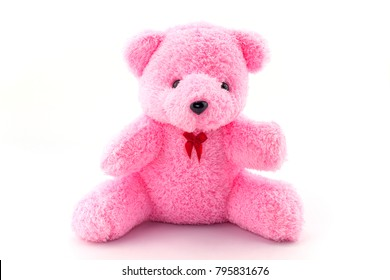 Pink teddy bear doll on white background