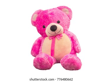 pink Teddy Bear,isolated on white background with clipping path.