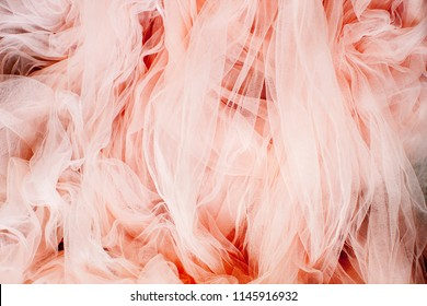 Pink Textured weave - Tulle. Abstract Texture Tulle, top view. Pink Chiffon Texture and Fabric. - Image